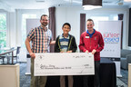 Chess Club and Scholastic Center of Saint Louis (CCSCSL) Executive Director, Tony Rich (left), and Assistant Manager, Mike Kummer (right), award Grandmaster Jeffery Xiong, 15, of Coppell, Texas (center), the $6,000 winning prize for the 2016 U.S. Junior Closed Championship - the most prestigious tournament for American chess players under 21 years of age - held at the CCSCSL July 7-18. Jeffery is currently the highest ranked player in the world under the age of 16.