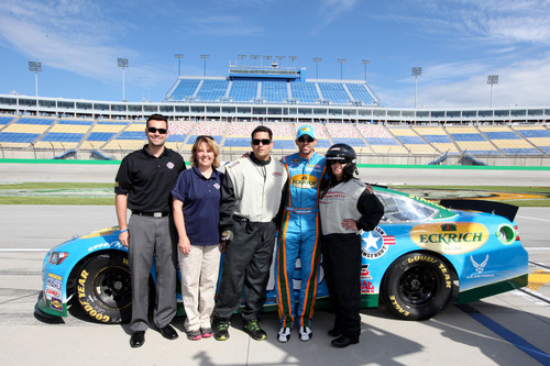 Purple Heart Recipient Surprised with a 'Ride of a Lifetime' at Kentucky Speedway.  (PRNewsFoto/Eckrich)