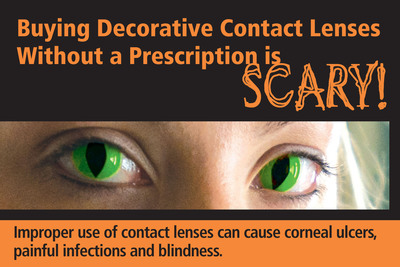 "As part of the American Academy of Ophthalmology's award-winning ""Want Scary Eyes? The Dangers of Decorative Contact Lenses"" public awareness campaign, this informational postcard was distributed to ophthalmologists to share with patients in their practices."