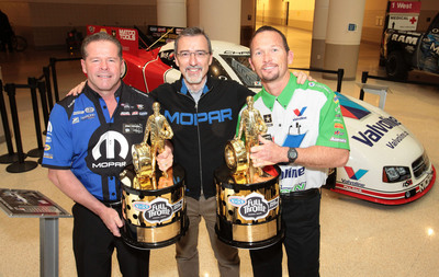 2012 NHRA Champs Allen Johnson, Jack Beckman with Mopar CEO Pietro Gorlier.  (PRNewsFoto/Chrysler Group LLC)