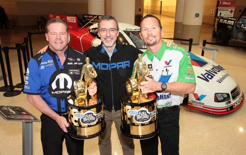 2012 NHRA Champs Allen Johnson, Jack Beckman with Mopar CEO Pietro Gorlier. (PRNewsFoto/Chrysler Group LLC) (PRNewsFoto/CHRYSLER GROUP LLC)
