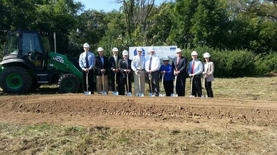 Ground breaking, standing left to right: Matt Booms, Vice President - State Bank; Mark Ford, Ford Architects; Greg Schmitt, Lincoln Construction; Dana McDonald, City of Dublin Development Director; Mark Klein, President and CEO - State Bank; David Homoelle, Columbus Regional President - State Bank; Marilee Chinnici-Zuercher, Dublin City Council; Tony Cosentino, Chief Financial Officer - State Bank; Steve Watson, Senior Vice President - State Bank; Gayle Zimmerman, Ford Architects (PRNewsFoto/SB Financial Group)