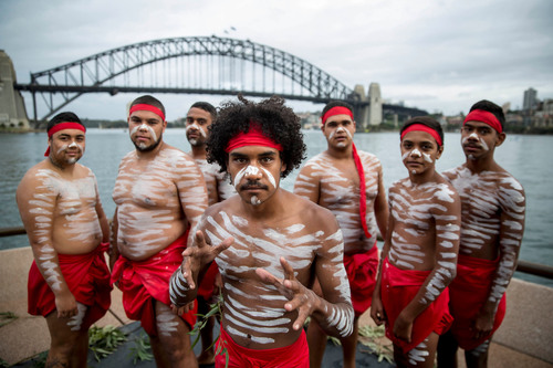 26/1/2014. Australia Day Sydney. A group from the Aboriginal Tribal Warrior Association are pictured before performing the traditional smoking ceremony on Sydney Harbor to mark the official start to Australia Day 2014. Credit- James Horan\Destination NSW.  (PRNewsFoto/Destination NSW)