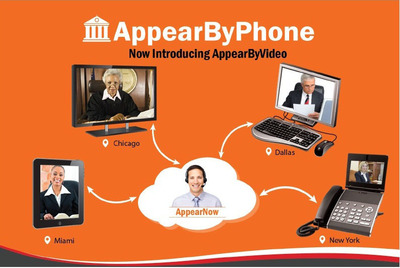 Now you can appear not only by phone but also by Video in Courts. (PRNewsFoto/AppearBy, LLC) (PRNewsFoto/APPEARBY, LLC)