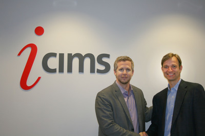 Colin Day, Chief Executive Officer, iCIMS welcomes Jindrich Liska, Sr. Director, Social Recruit, iCIMS and founder of Jobmagic.  (PRNewsFoto/iCIMS, Inc.)
