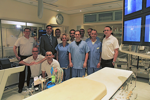 The members of the joint Philips, RealView Imaging and Schneider Children Medical Center team responsible for ...