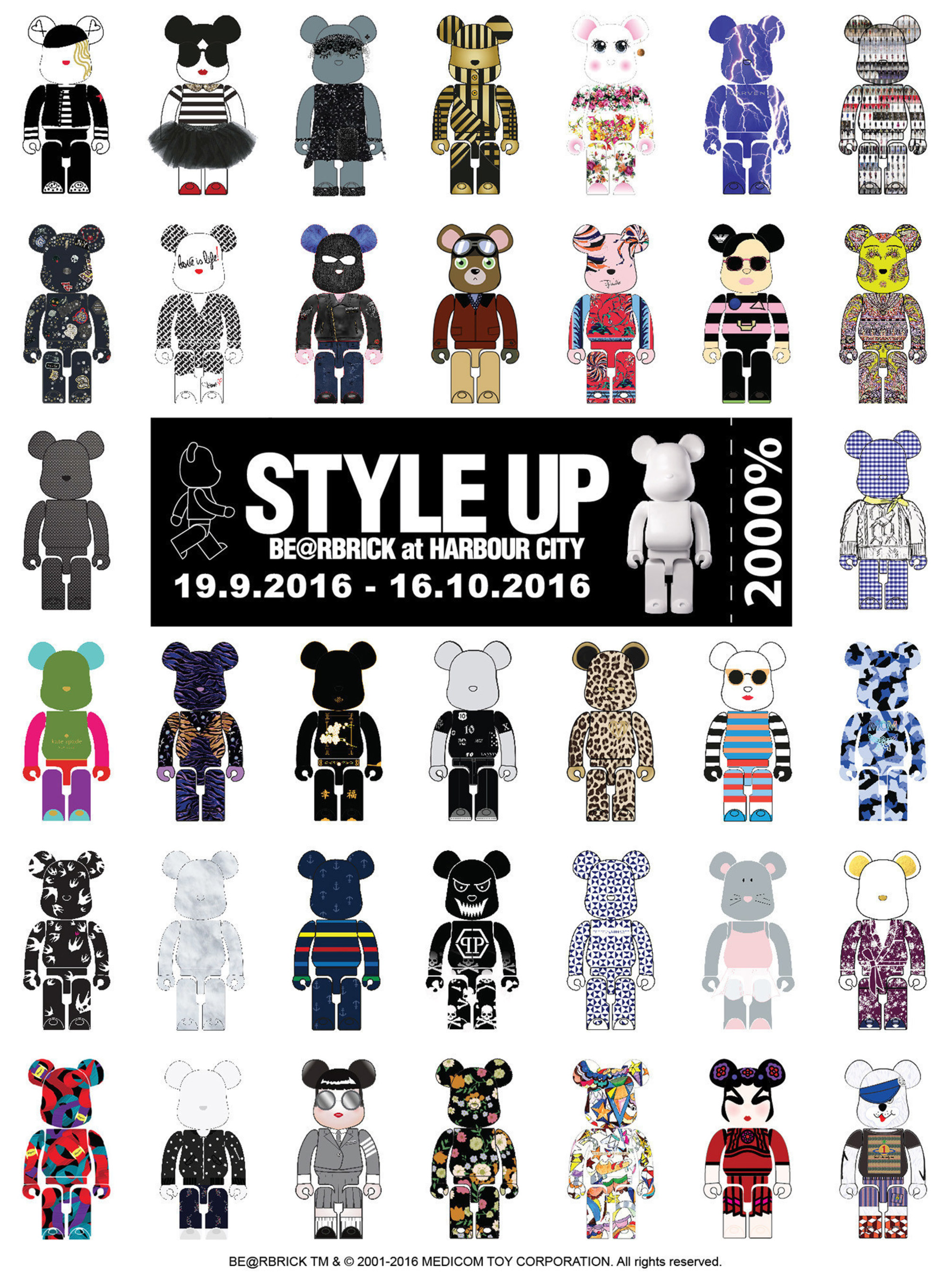 """bba545bf ... Hong Kong's Largest-Ever """"Style Up BE@RBRICK at Harbour City"""" featuring  original 2000% BE@"""