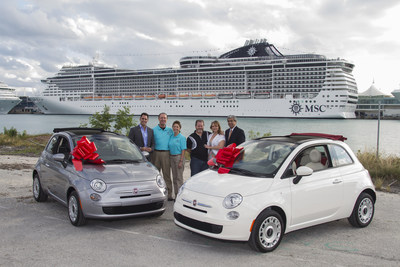 MSC Cruises' executives awarded winners of MSC's FIAT giveaway sweepstakes a brand new FIAT 500c POP - the ultimate holiday gift - on Saturday, Dec. 13 in Miami, Fla. Winners are travel agent David Huff and MSC guest Rockne Green. Seen from Left to Right: Ken Muskat, executive vice president of sales, PR & guest services for MSC Cruises USA; David Huff, travel agent winner from Avenues to Travel, Ltd. accompanied by Saundra Huff; Rockne Green, MSC guest winner accompanied by Wilmet McDonnell…