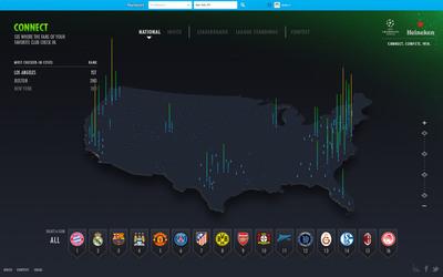 Heineken unveils Heineken Fan Footprint, an interactive digital heat map to connect UEFA Champions League fans across the U.S. Heineken revela el Fan Footprint Heatmap, un mapa digital interactivo para conectar fans de Liga de Campeones de la UEFALeague por todo Estados Unidos.  (PRNewsFoto/Heineken)