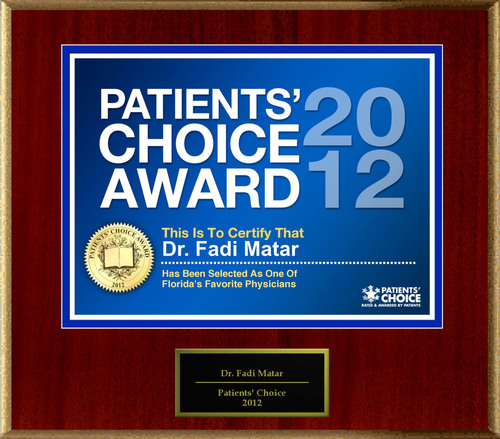 Dr. Matar of Tampa, FL has been named a Patients' Choice Award Winner for 2012.  (PRNewsFoto/American ...