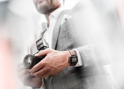 Basis Peak Titanium Edition with Cognac leather strap on wrist
