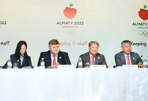 Almaty 2022 delegates during press briefing (PRNewsFoto/Almaty 2022 Candidate city) (PRNewsFoto/Almaty 2022 Candidate city)