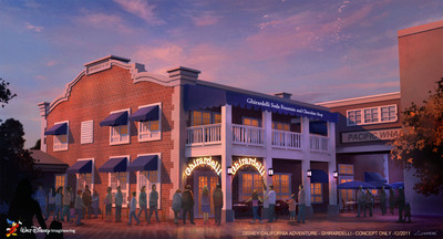Anaheim, Calif., Dec. 1, 2011 - Disneyland Resort today announced that Ghirardelli will open a new location inside Disney California Adventure park in late spring 2012. The soda fountain and chocolate shop will add yet another layer of traditional San Francisco flair to the Pacific Wharf area of the park. The new location will feature Ghirardelli's world-famous hot fudge sundaes and decadent chocolate products. Each guest will be able to enjoy a complimentary sample of the signature Ghirardelli Squares(R) chocolate. The Disney California Adventure store follows the 13-year success of a similar location at Downtown Disney in Walt Disney World.  (PRNewsFoto/Disneyland Resort)