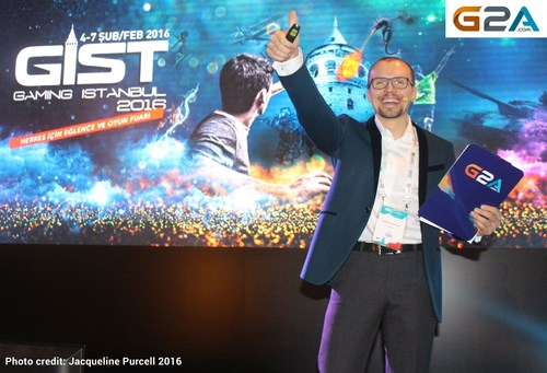 CEO of G2A Bartosz Skwarczek officially opening Gist Gaming Istanbul 2016, in Istanbul this morning. He spoke ...
