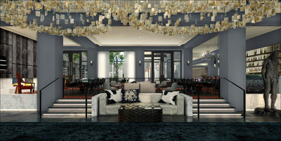 The lobby of the Logan, Philadelphia's Hotel, part of Curio - A collection by Hilton, opening fall 2015. Photo credit:  Dawson Design Associates, Inc.