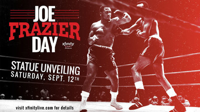 Philadelphia Boxing Legend Joe Frazier statue to be unveiled at XFINITY Live! onSeptember 12 during free open-to-the public ceremony #JoeFrazierDay. Statue Unveiling and Program begins promptly at 1pm. Event runs until approximately 4pm.Enjoy live entertainment, great food at one of the dining venues & more! - See more at: http://www.xfinitylive.com/joefrazierday#sthash.rbymaUeP.dpuf