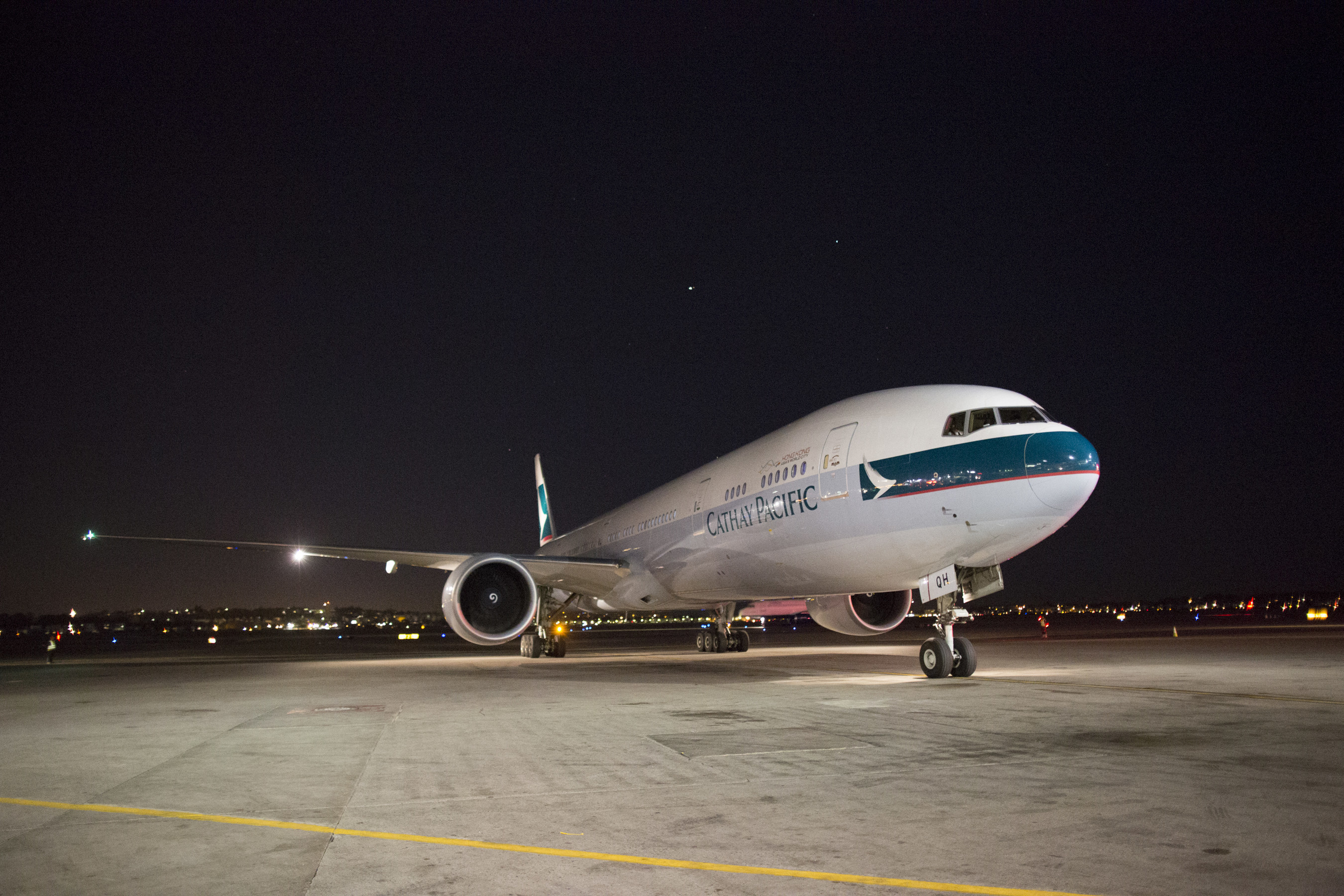 Cathay Pacific's first flight lands at Boston Logan Airport