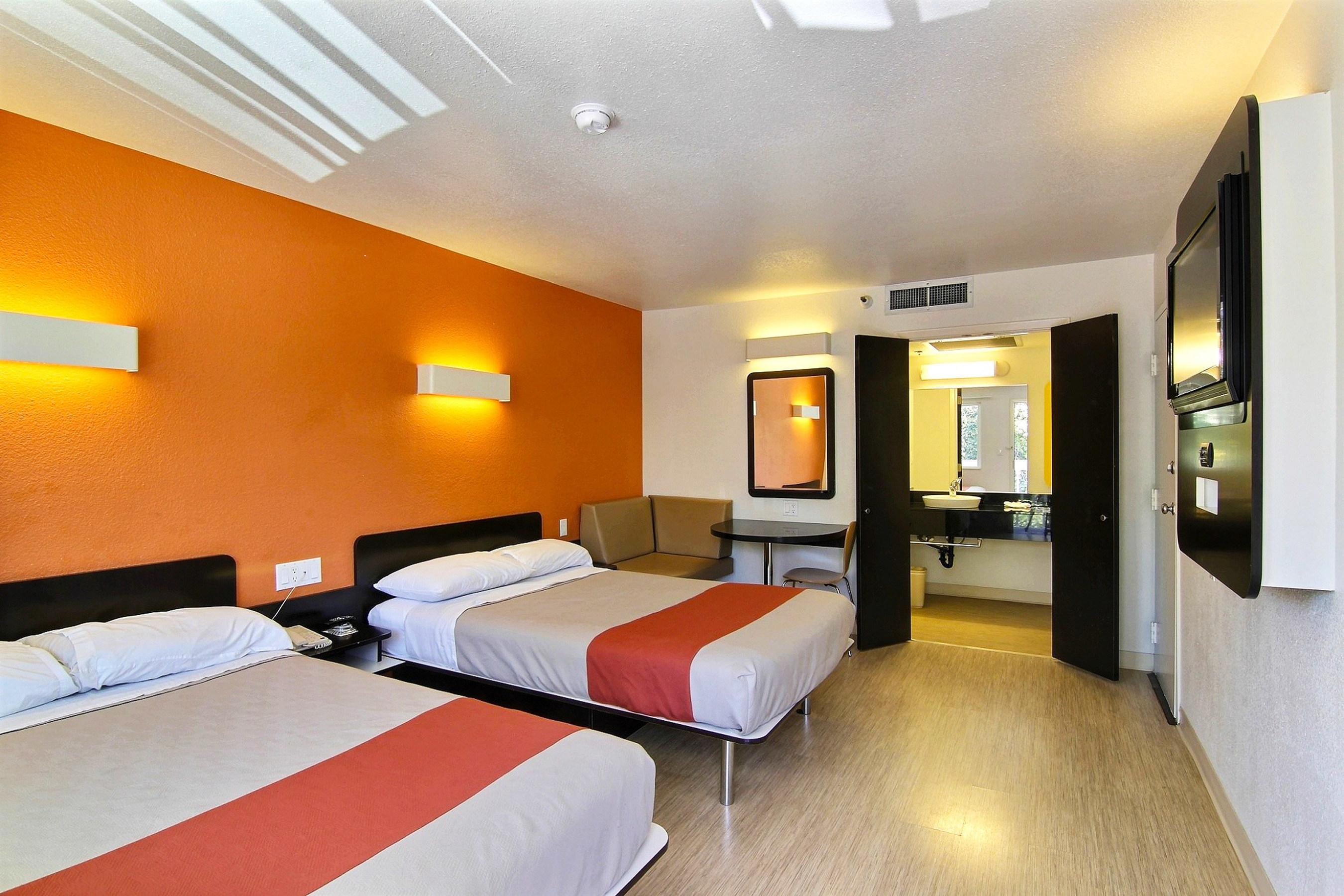 Renovated Motel 6 Room.