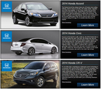 The 2014 Honda model information page is a portal to extensive information on new cars from Honda.  (PRNewsFoto/Benson Honda)