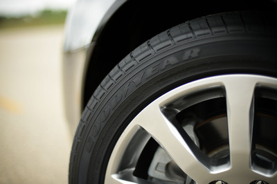 This Goodyear tire was built using soybean oil, which researchers say can help improve tread life and could eliminate up to seven million gallons of petroleum per year.  (PRNewsFoto/The Goodyear Tire & Rubber Company)