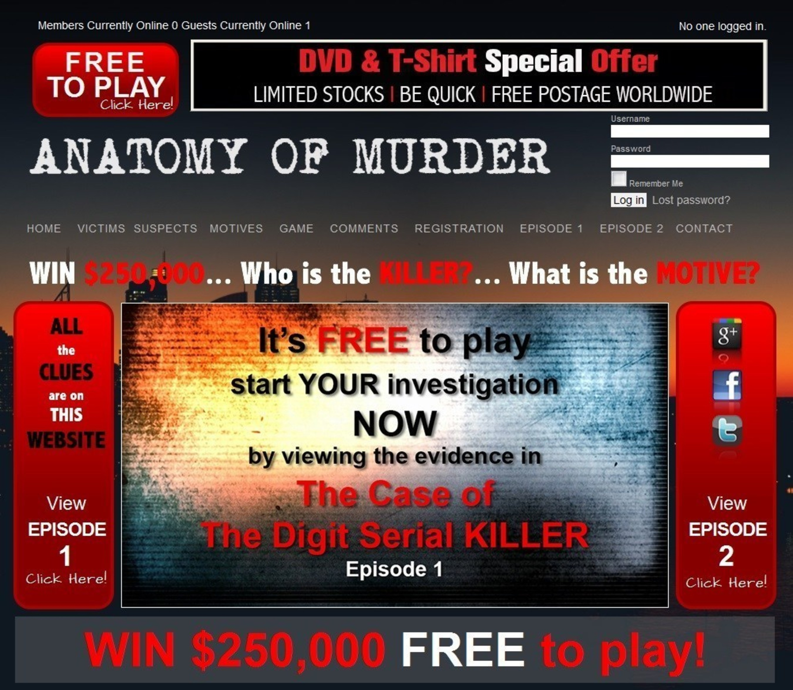 Win $250,000 in a World First Online Murder Mystery Game