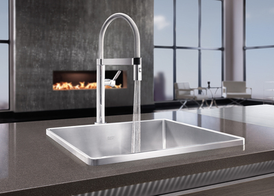 New chef-inspired BLANCO CULINA(TM) MINI kitchen faucet combines water-saving performance with a unique closed coil and magnetic holder -- all in a right-sized profile for open floor plans (PRNewsFoto/BLANCO)