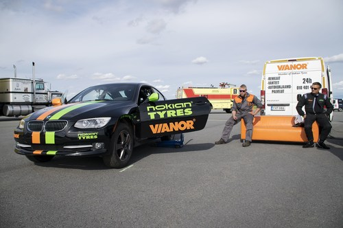 Nokian Tyres - Fastest side wheelie in a car. The new world record for Fastest side wheelie in a car was set when Nokian Tyres, Vianor and stunt driver Vesa Kivimäki combined their strengths. The new world record was powered by Nokian Tyres Aramid Sidewall technology and tyre maitenance by Vianor pit crew. More: www.nokiantyres.com/fastestwheelie (PRNewsFoto/Nokian Tyres)