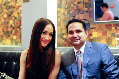 Actress Maggie Q and Cachet Hotel Group CEO, Alexander Mirza, at the launch event for Cachet Hotel Group in Shanghai, China.  (PRNewsFoto/Cachet Hotel Group)