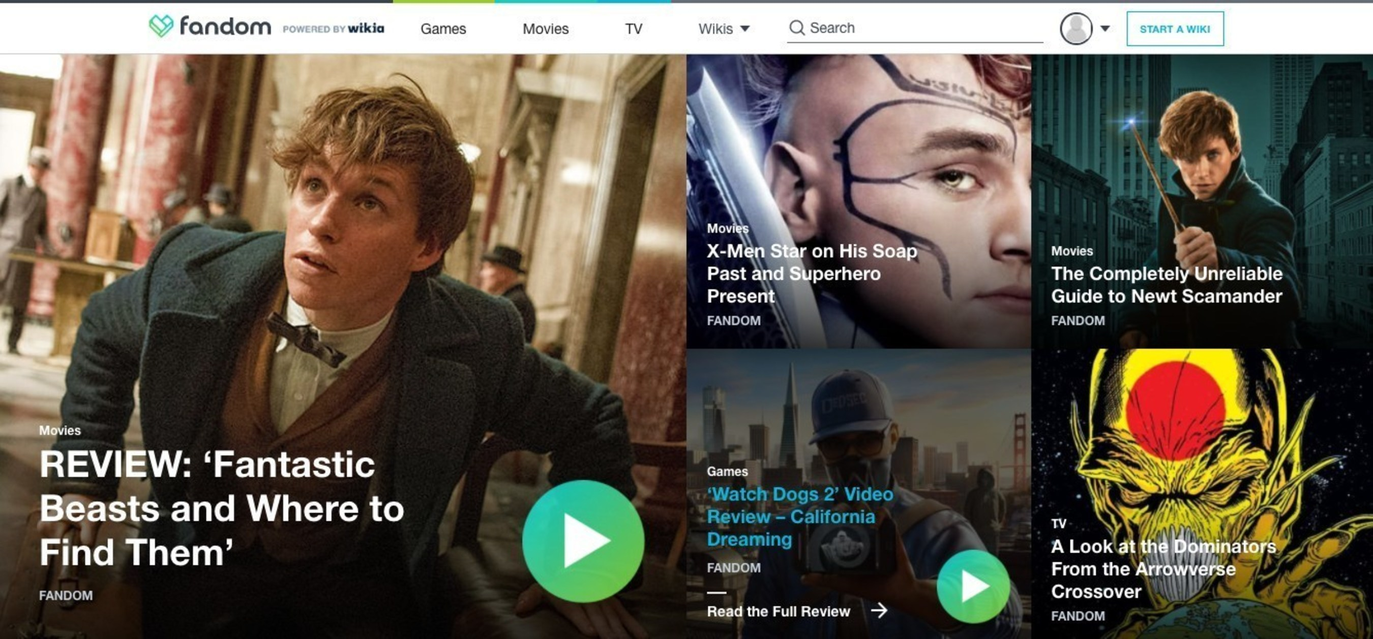 Fandom UK homepage
