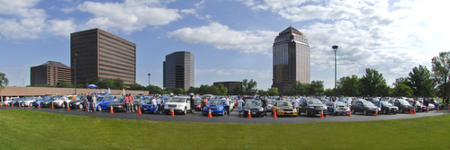 "Vehicles from the 2009 GUINNESS WORLD RECORDS(R) Record ""Largest Parade of Subaru Cars"".  (PRNewsFoto/Subaru of America, Inc.)"
