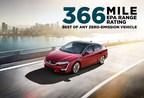 El modelo Clarity Fuel Cell de Honda presume de una calificación EPA de autonomía de 366 millas, la mejor de cualquier vehículo de emisiones cero