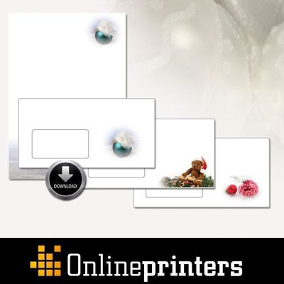 Customers of onlineprinters.com can download templates for Christmas stationery, envelopes, and folding cards for Christmas mailings in the online shop. The Christmas motifs can be downloaded for free. The Christmas mail can be customised with a personal greeting text or the company logo and ordered online. Copyright: Onlineprinters GmbH