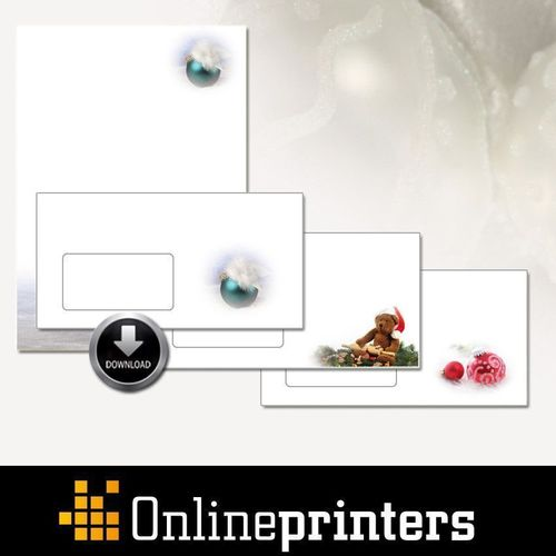 Customers of onlineprinters.com can download templates for Christmas stationery, envelopes, and folding cards ...