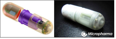 Micropharma's ingestible medical device can sample the gastrointestinal mucosa at pre-determined locations including the small intestine.  The device is programmable, autonomous and can take multiple, discrete, relatively large samples that can be assayed for human genomic, metabolomic and human gut microbiome data.  (PRNewsFoto/Micropharma Limited)