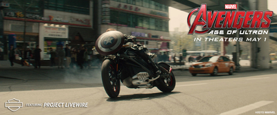 Harley-Davidson and Marvel Studios unite to confirm that Project LiveWire - Harley-Davidson's first electric motorcycle - will appear in Marvel's Avengers: Age of Ultron as the ride of choice for Natasha Romanoff (a.k.a. Black Widow) played by Scarlett Johansson. (PRNewsFoto/Harley-Davidson Motor Company)