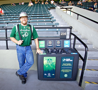 """Timber Joey,"" the Portland Timbers mascot, with one of the GreenDrop Recycling Stations at Providence Park. (PRNewsFoto/GreenDrop Recycling)"