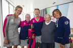 SCA teamed up with Brookdale Senior Living and Wish of a Lifetime to grant Shirley Payne's wish to meet Team SCA. Shirley enjoyed being a Team SCA VIP for the day - lunching with the team, touring the VO65 and sailing with some of the crew. From left to right: Sophie Ciszek, Libby Greenhalgh, Annie Luch, Shirley Payne, Liz Wardly (Photo by Sara Strandlund/SCA/Getty Images)
