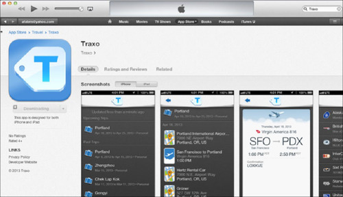 The new Traxo App enables travelers with seamless organization.  (PRNewsFoto/Traxo)