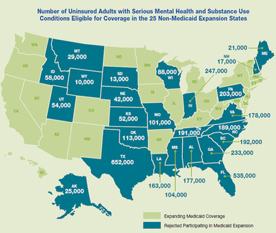 Number of Uninsured Adults with Serious Mental Health and Substance Use Conditions Eligible for Coverage in the 25 Non-Medicaid Expansion States.  (PRNewsFoto/American Mental Health Counselors Association (AMHCA))