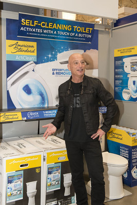 """Television celebrity Howie Mandel tells visitors at Lowe's that the new American Standard ActiClean self-cleaning toilet features easy """"press of a button"""" operation for bowl scouring without the brush."""