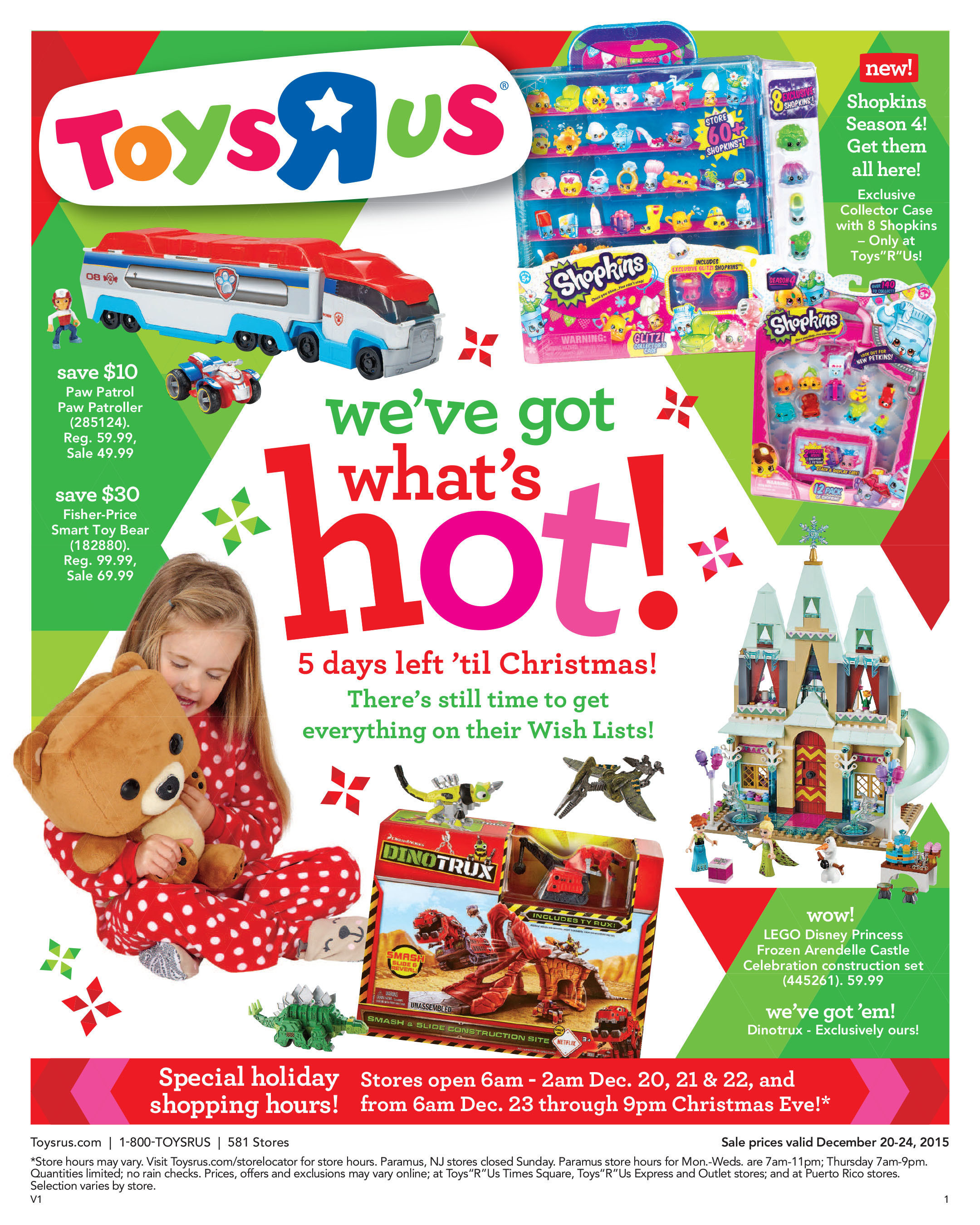 """Toys""""R""""Us offers extended store hours and special savings for last-minute holiday shopping."""