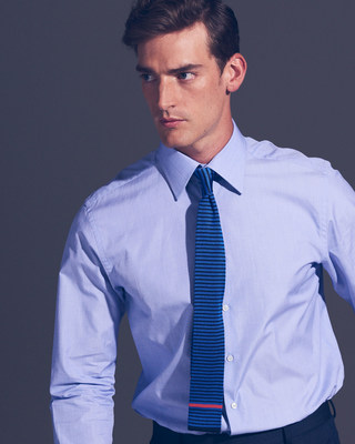 Thomas Pink made in the UK 1984 Duke shirt in pale blue with Eden Stripe knit tie #outfox