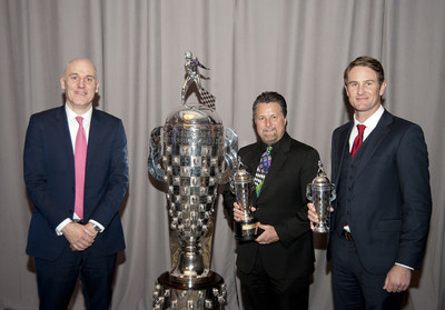 BorgWarner President and Chief Executive Officer James R. Verrier presented 2014 Indianapolis 500 winner Ryan Hunter-Reay with his first BorgWarner Championship Driver's Trophy (TM) during the 2015 Automotive News World Congress. Team owner Michael Andretti also accepted his third BorgWarner Championship Team Owner's Trophy(TM).