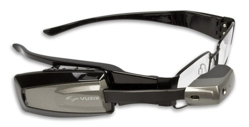 Vuzix M100 Smart Glasses attached to prescription frames (PRNewsFoto/Vuzix Corporation)