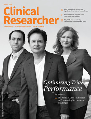 Founder Michael J. Fox; CEO Todd Sherer, PhD; and Co-Founder and Executive Vice Chairman Deborah W. Brooks of The Michael J. Fox Foundation for Parkinson's Research (MJFF) are featured on the cover of the inaugural issue of Clinical Researcher, the journal of the Association of Clinical Research Professionals. (PRNewsFoto/The Michael J. Fox Foundation) (PRNewsFoto/The Michael J_ Fox Foundation)