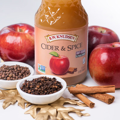 R.W. Knudsen Family(R) Cider & Spice juice, made with 100% juice and simple ingredients, is ideal for adding ease to the preparation process and a burst of traditional holiday flavor the whole family will enjoy.