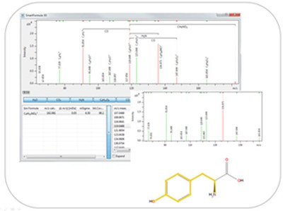 Figure 2: Seamless annotation of unknown compounds - MetaboScape 2.0 simplifies identification of unknowns. The fully integrated, proprietary and unique SmartFormula(TM) 3D isotopic ratio routine for precursor and product ions automatically and confidently generates precise molecular formula.  CompoundCrawler(TM) provides hits for possible structures by accessing online databases. Subsequent in silico fragmentation of structure candidates provides the compound with the best score by matching measured...