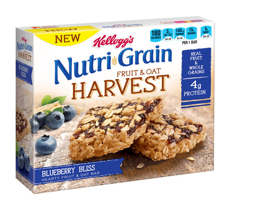 Kellogg's Nutri-Grain Fruit & Oat Harvest Blueberry Bliss cereal bar.  (PRNewsFoto/Kellogg Company)