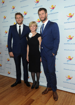 """Chef Curtis Stone, Hon. Julie Bishop, the Australian Minister for Foreign Affairs, and Chris Hemsworth attend an event where Chris Hemsworth was named the new global ambassador for Tourism Australia's """"There's Nothing Like Australia"""" Coastal and Aquatic campaign, showcasing the country's world-class beaches, aquatic and coastal experiences, during an event on the eve of Australia Day, Monday, Jan. 25, 2016, in New York.  (Photo by Diane Bondareff/Invision for Tourism Australia/AP Images)"""