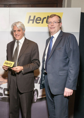 Michel Taride, President, Hertz International, and Sean Boland, Managing Director, Hertz Ireland and Company Director, Ryan's Investments extend longstanding franchise partnership, with Ryan's Investments to operate the Hertz, Dollar Rent a Car and Thrifty Car Rental brands in Ireland until 2024.  (PRNewsFoto/The Hertz Corporation)